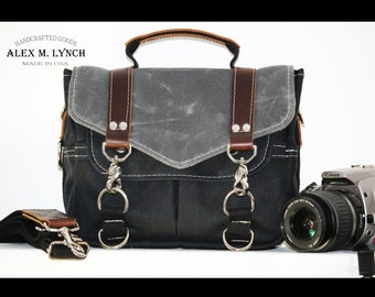 PETITE Waxed Canvas small Messenger bag - cross body bag handmade by Alex M Lynch - 010035
