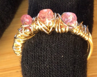 Pink Sapphire Wire Wrapped Ring