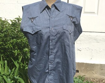 Round'em Western Gear Deadstock Sleeveless Blue Shirt Size Small Mens