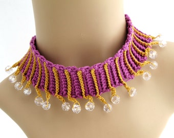 Crocheted Purple Beaded Choker. Necklace. Gold.