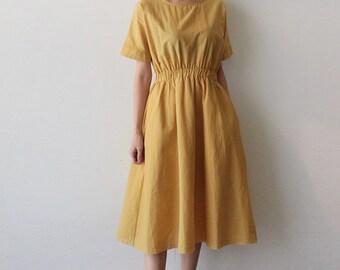 2Colors Linen summer wrap dress -flare linen dress - summer linen dress - romantic linen wrap dress - plus size dress - Yellow linen dress