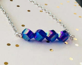 Bar Necklace, Purple Iridescent Crystal Bar Necklace, iridescent jewelry, jewelry gifts under 20 dollars