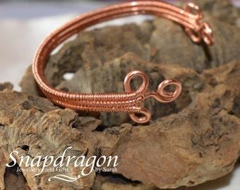 Wire wrapped copper cuff bracelet