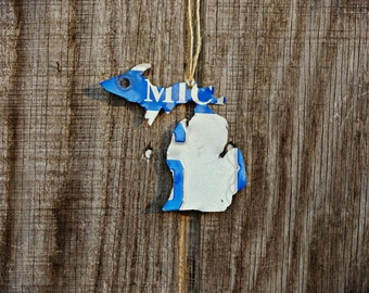 """Upcycled Michigan/Upper Michigan License Plate """"State of Michigan"""" Ornament"""