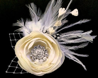 Bridal Hair Clip, Rustic Wedding Headpiece, Flower Wedding Fascinator, Feather Fascinator, Wedding Barrette, Bridal Headpiece, MELIANA