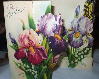 Get Well Unused Vintage Paper Greeting Card Beautiful Fold Out Iris Flowers Lily of Valley and a Butterfly