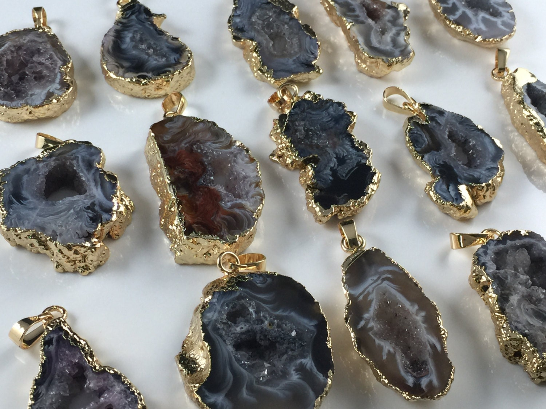 Wholesale agate druzy pendant agate slice druzy geode pendant zoom aloadofball Gallery