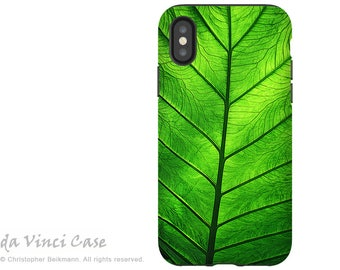 Tropical Green Leaf - Artistic iPhone X Tough Case - Dual Layer Protection for iPhone 10 - Leaf of Knowledge by Da Vinci Case