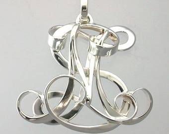 Custom 'SMZ' Initial Monogram Pendant/Pin - Available In All Sizes and Metals - Makes a Beautiful Gift!