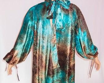 SALE 20%, Elegant dress, Tunic, Blouse, Oversize, Long sleeve, Original, Modern, Brown, Turquoise