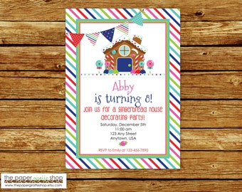 Gingerbread Birthday Invitation   Gingerbread Invitation   Gingerbread Decorating Birthday Party Invitation   Holiday Party