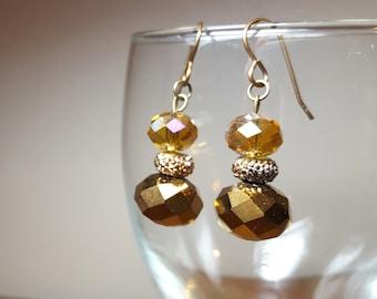 Brown Copper Gold Earrings Dangle Drop Earrings Beaded Jewelry Free US Shipping