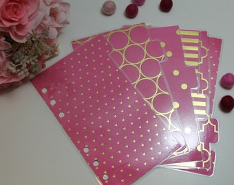 Pink + Gold Personal Sized Dividers : Set of 6