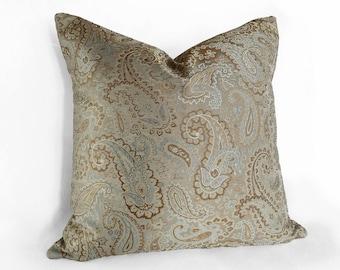 Blue Gold Pillow, Aqua Throw Pillow, Paisley Pillow Cover, Contemporary Pillow, Aqua Decorative Pillow, Zipper Pillows, 18x18, 20x20, 22x22