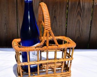 Bamboo wine caddy / Bamboo wine rack / Vintage wine caddy / Boho Wine Rack