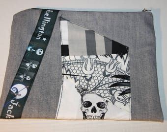 grey denim patch and jack pouch