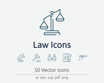 Law Icon Set in Vector and PNG for web and print