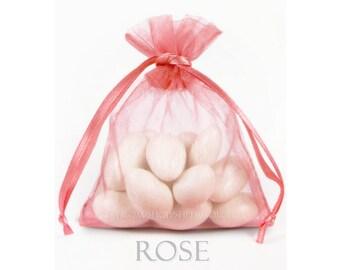 30 Rose Pink Organza Bags, 5 x 8 Inch Sheer Fabric Favor Bags