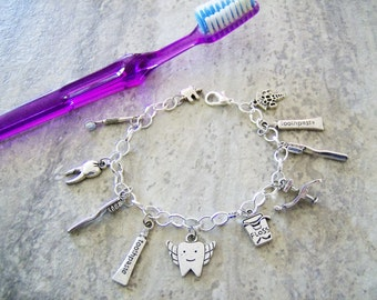 Dentist/dental themed charm bracelet - metal charm bracelet - dentist/dental themed jewelry - dentist/dental/teeth charms - dentist gift