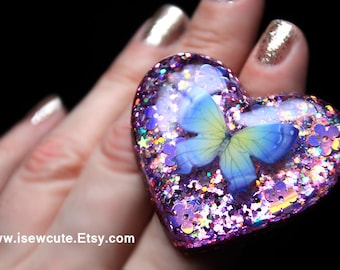 Butterfly Glitter Ring, Summer Boho Butterfly Resin Jewelry, Sparkly Heart Ring, One of a Kind Summer Jewelry, Festival Fashion by isewcute