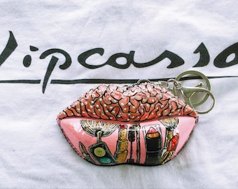 Brains and Beauty Lip Art Sculpture Keychain with Shatter Resistant Mirror