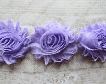 1/2 Yard Shabby Chiffon Flower Trim in Lavender - Flower Trim for Headbands and DIY supplies
