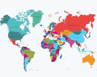 Giant world map Etsy