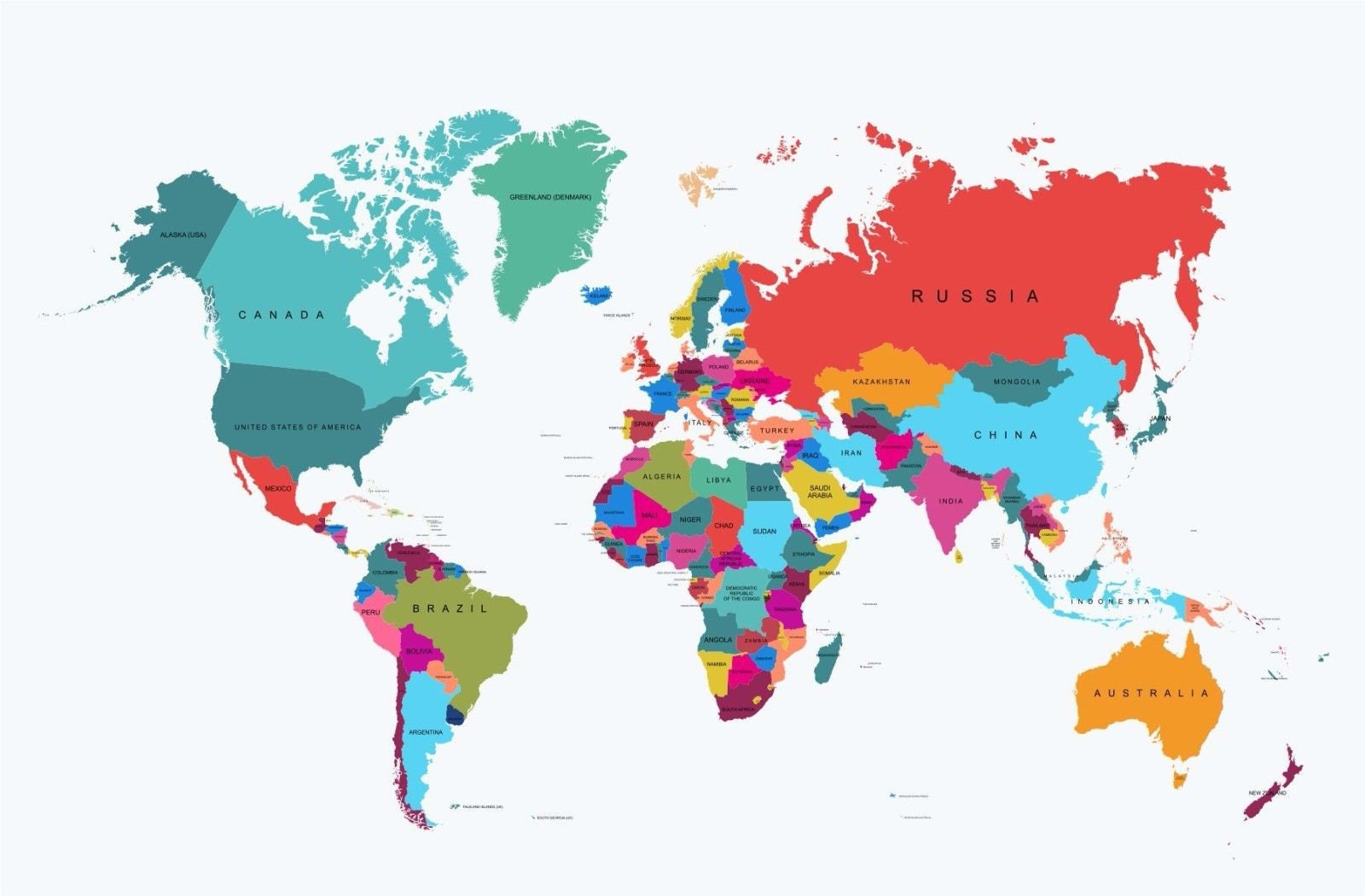 Giant World Map WALL BRAND NEW Sizes A1 A2 A3 A4 Poster Wall