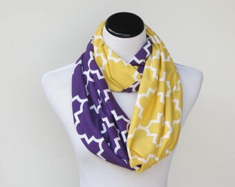 Purple and yellow gold quatrefoil infinity scarf LSU color block soft jersey knit loop scarf circle scarf - gift for women and girls