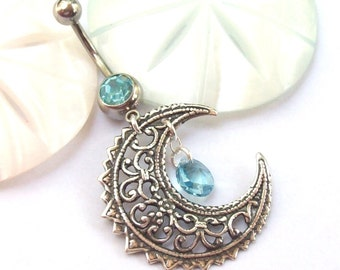 Moon Belly Ring, Silver Belly Ring, wiccan, belly dancer, boho, filigree, aqua, blue, Astrology, navel ring, tummy, dangle