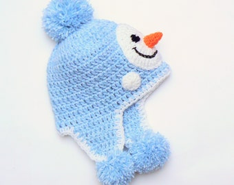 Snowman Hat, Pom Pom Hat, Kids Winter Hat, Toddler Outfit, Crochet Earflap Hat, Toddler Boy hat, Kids Accessories, Cute Kids Hat, Character