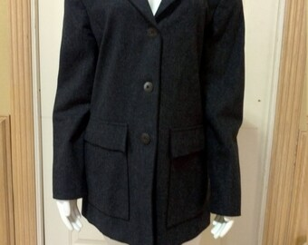 Vintage Grey Wool Jacket by Harvé Benard/ Vintage Jackets Women/Coats For Women  /Blazer For Women Grey Coat size small 4-6