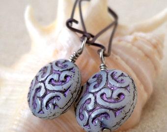 Hypoallergenic Jewelry - Gift for Her - Hypoallergenic Earrings - Bead Jewelry - Pure Titanium Earrings - Beaded Earrings - Purple Earrings