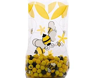 """Cellophane  Bags,  Honey Bees 4x2x9"""" Cello Bags"""