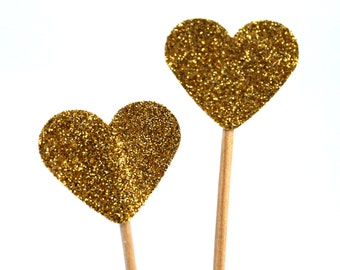 10 Toothpicks heart,  gold, heart, Double Sided- Party Picks, Cupcake Topper, Baby Shower Decoration, Birthday Pick, glittering,