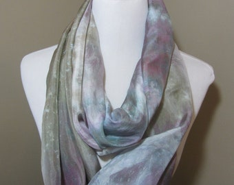 Hand dyed mauve and khaki wide silk infinity scarf -