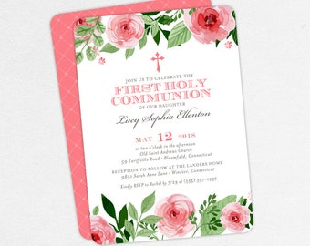 First Communion Invitation, First Holy Communion Invitation, Religious, Print, PDF, DIY Communion Invite, Watercolor, Floral, Pink, Lucy