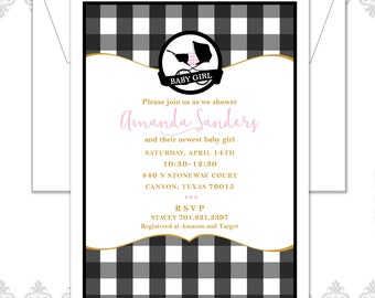 Plaid Baby Carriage Shower Invitation, Baby Shower Invite, Carriage Baby Shower, Gingham Shower Invite, Plaid Blanket, Plaid Pattern Invite
