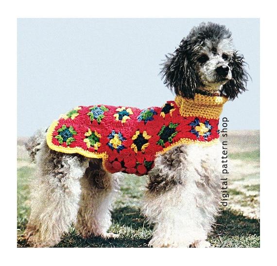 Crochet Dog Sweater Pattern Granny Square Dog Coat Crochet