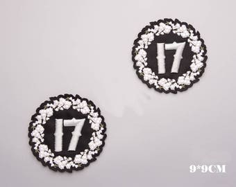 Number 17 Black White Stereoscopic embroidery patch,Armband,Badge,number Applique design,number patches,number art ,number artwork,arm bands