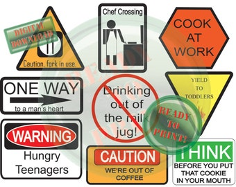 Funny Cooking Warning Signs Printable Digital Collage Sheet 9 Labels Digital Refrigerator Magnet Clip Art Caution Warning One Way Road Signs