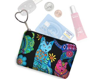 Small Zipper Pouch Coin Purse Keychain Fabric Key Fob Business Card Holder Change Purse Colorful Cat Lover Gift  purple blue pink  green RTS