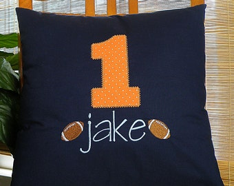 Football Pillow, Personalized Football Pillow, Throw Pillow, Appliqued Pillow, Personalized Pillow