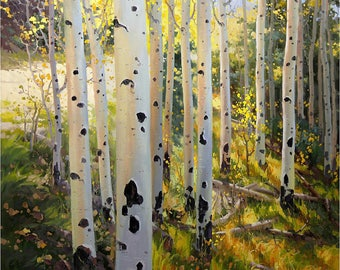 Large original Oil painting_ Birch Tree Aspen Landscape Commission Art  Hand-painted by Award Winning Artist Gary Kim, Custom Made to Order
