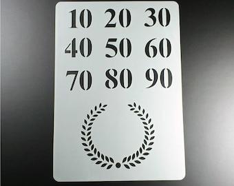 Stencil anniversary Laurel Wreath Numbers-BO35