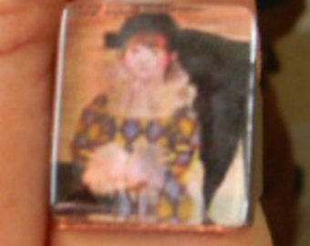 Harequin Jester Child or Gothic Vampire Painting - Cabochon Adjustable Ring
