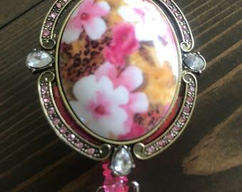 Pink floral badge clip