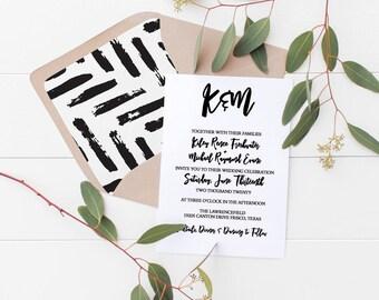 Simple Brush Calligraphy Wedding Invitation Deposit