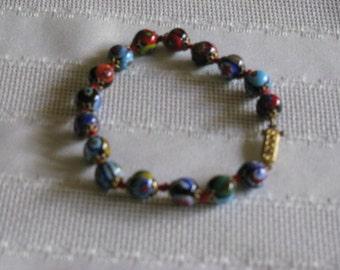 Vintage Venetian Glass Bead Bracelet