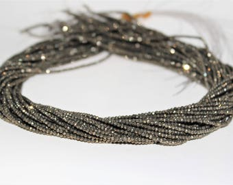 Faceted Pyrite Rondelle Loose beads 2x1.5mm
